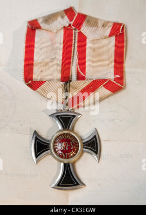 ITAR-TASS: ST PETERSBURG, RUSSIA. MARCH 29, 2012. An Order of Prince Danilo I Petrovic-Njegos awarded for the liberation - Stock Photo