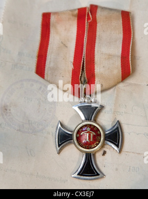ITAR-TASS: ST PETERSBURG, RUSSIA. MARCH 29, 2012. An Order of Prince Danilo I Petrovic-Njegos of Montenegro discovered - Stock Photo
