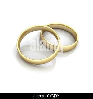 2 Ringe beieinander, Symbol für Fusion / Heirat - 2 rings, symbol for marriage / fusion - Stockfoto