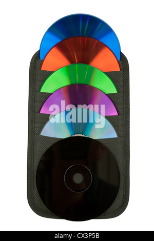 CD and their various colors in a flat container - Stock Photo