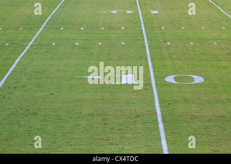 An american football ten yard line in open air - Stock Photo
