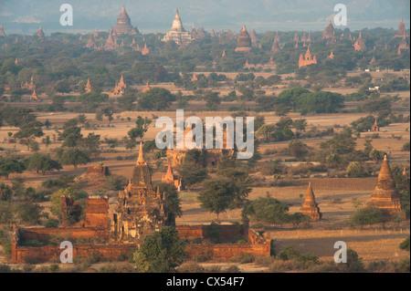 Sunrise seen from viewing tower at Aureum Hotel, Bagan, Myanmar (Burma) - Stock Photo