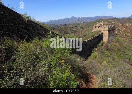The Great Wall of China blue sky landscapes views - Stock Photo