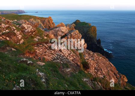 Lion Rock and Lizard Point, The Lizard, Cornwall, England, United Kingdom, Europe - Stock Photo