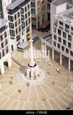 View of Paternoster Square and Column, taken from the Golden Gallery, St. Paul's Cathedral, City of London, London, - Stock Photo