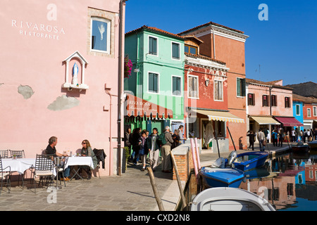Canal on Burano Island, Venice, Veneto, Italy, Europe - Stock Photo