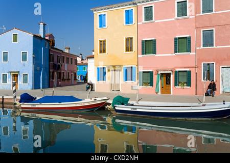 Canal on Burano Island, Venice, Veneto, Italy, Europe - Stock Photo