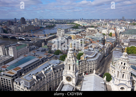 Aerial view of London taken from the Golden Gallery of St. Paul's Cathedral, City of London, England, United Kingdom, - Stock Photo