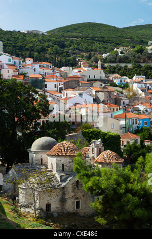 View over Vathy old town, Samos Town, Samos, Aegean Islands, Greece - Stock Photo