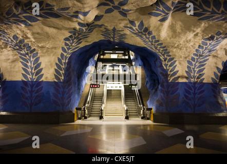 Artwork in Kungstradgarden subway station, Stockholm, Sweden, Scandinavia, Europe - Stock Photo