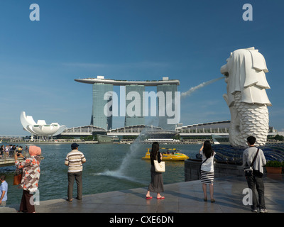 Marina Bay Sands Hotel viewed from Merlion Park, Singapore, Asia - Stock Photo