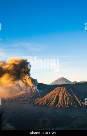 Mount Bromo volcano erupting at sunrise, sending volcanic ash high into the sky, East Java, Indonesia, Southeast - Stock Photo