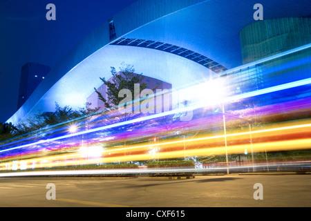 light trails on the street - Stockfoto