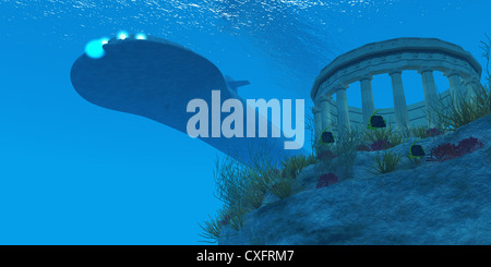 A submarine passes over a Greek temple ruin near a reef with sea life. - Stock Photo
