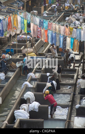 Workers busy in the Dhobi Ghats central laundry, Mumbai, India. - Stock Photo