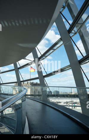 Reichstag, Bundestag parliament, interior of the glass dome, architect Sir Norman Foster, Berlin, Germany, Europe - Stock Photo
