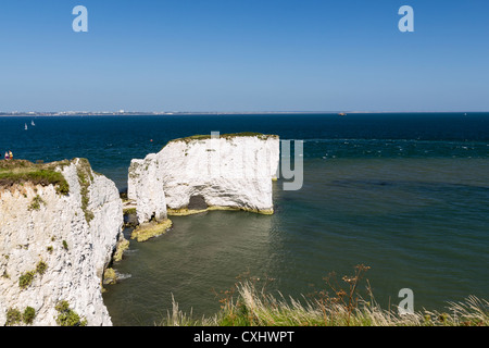 Old Harry Rocks at Handfast Point, Studland on the Isle of Purbeck, Jurassic Coast of Dorset England. - Stock Photo