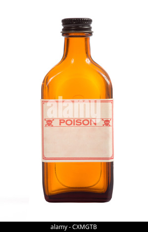 An antique brown prescription bottle with poison caution and copy space on a white background - Stock Photo