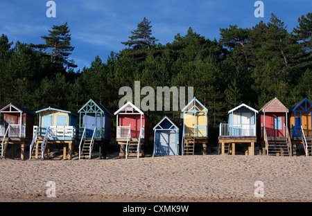 Colourful Beach Huts Wells-Next-The-Sea Norfolk UK - Stock Photo