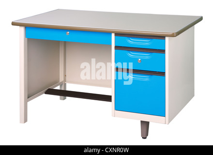 Stainless steel office or factory furniture isolates on white - Stock Photo