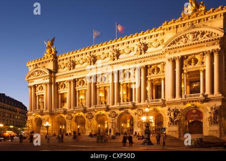 Twilight at Palais Garnier - the Opera House, Paris France - Stock Photo