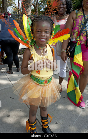 USA: Brooklyn, New York: Group from Guyana prepare to march in the Caribbean Kiddies Day parade, Crown Heights, - Stock Photo