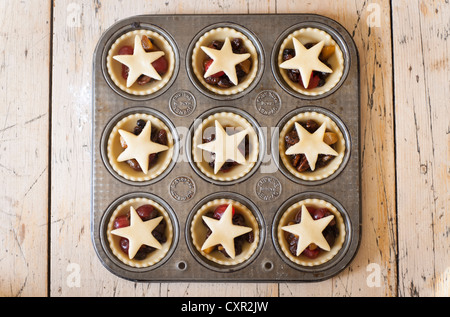 Mince Pies in a baking tray - Stock Photo
