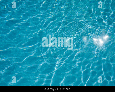 LIGHT REFLECTING ON RIPPLES AND ON WATER IN SWIMMING POOL. - Stock Photo