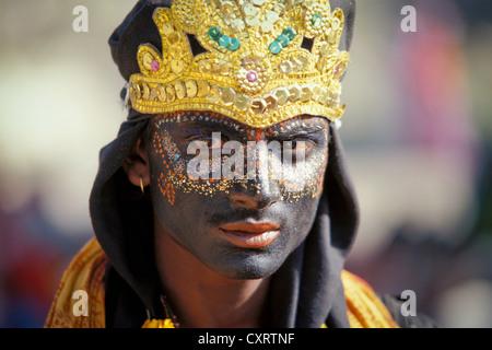 Young man dressed as the Hindu shepherd god Krishna, portrait, Kumbh or Kumbha Mela, Haridwar, Uttarakhand, formerly - Stock Photo