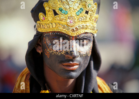 Young man dressed as the Hindu shepherd god Krishna, portrait, Kumbh or Kumbha Mela, Haridwar, Uttarakhand, formerly - Stock Photo