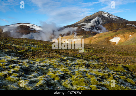 Moss, hot springs and snow-capped Rhyolite Mountains, Hveradallir high temperature region, Kerlingarfjoell, highlands, - Stock Photo