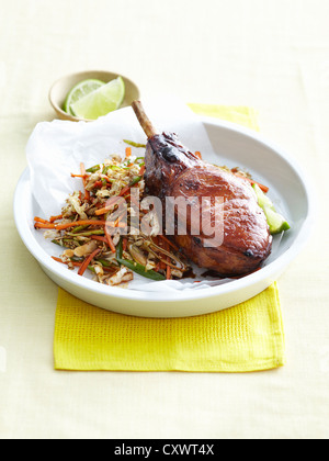 Plate of pork cutlet and cabbage - Stock Photo