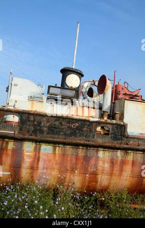 Rusty Old Abandoned Boat or Wreck Seyne-sur-Mer Var Provence France - Stock Photo