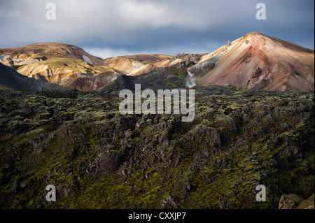 Brennisteinsalda volcano, rhyolite mountains and Laugahraun lava field, Landmannalaugar, Fjallabak Nature Reserve - Stock Photo