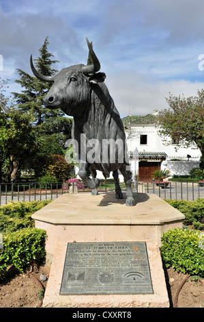 Bull Sculpture, Bullfighting Monument, Ronda, Andalusia, Spain Stock Photo, R...
