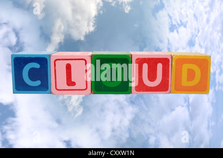 toy letters that spell cloud against a cloudy background with clipping path - Stock Photo