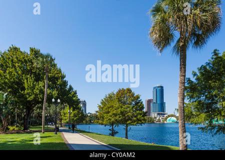 Lake Eola Park in downtown Orlando, Central Florida, USA - Stock Photo