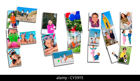 Montage of young active children having fun playing happy and smiling - Stock Photo