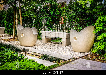 Outdoor seating in the Library gardens in Udine Italy Stock Photo ...