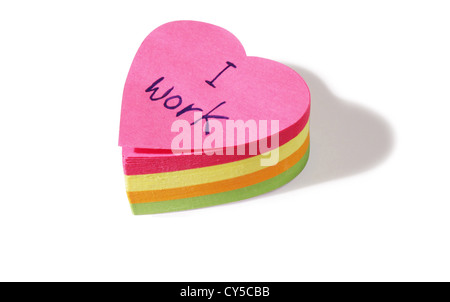 heart shaped post it notes cut out on a white background - Stock Photo