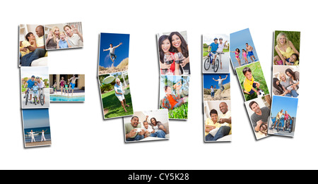 Fun concept montage of men women children families playing together being active, laughing and having fun together - Stock Photo