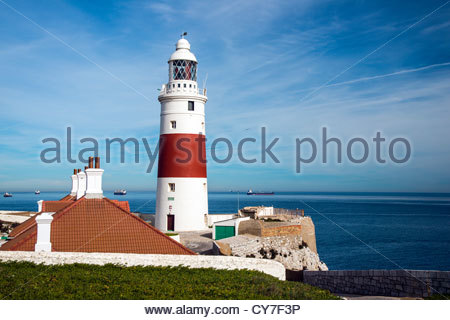 Lighthouse at Great Europa Point, Gibraltar, Spain - Stock Photo