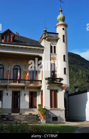 Front view of italian villa in a sunny day, Italy - Stock Photo