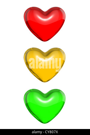 Red candy heart colored as traffic light, isolated on white background - Stock Photo