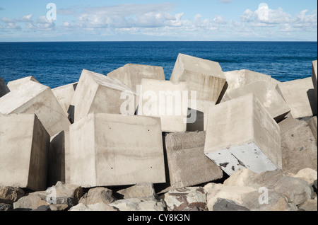 Coastal defence concrete blocks on Gran Canaria, Canary Islands, Spain - Stock Photo