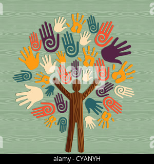 Global diversity man as trunk tree hands illustration. Vector file layered for easy manipulation and custom coloring. - Stock Photo