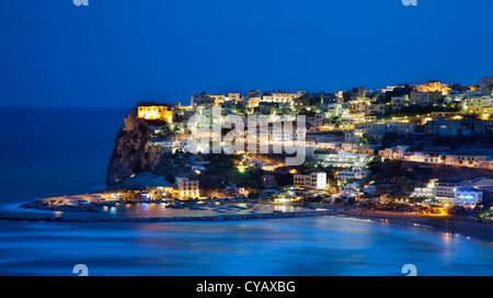 Night view of Peschici in the Gargano peninsula (Apulia,Italy) - Stock Photo