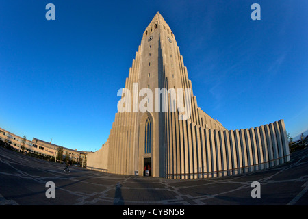 Hallgrimskirkja Church or Cathedral at sunset, Reykjavik, Iceland - Stock Photo
