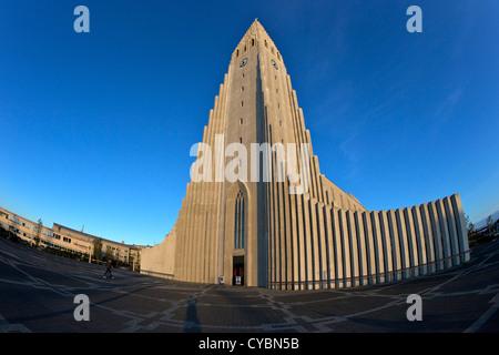 Hallgrimskirkja Church or Cathedral at sunset, Reykjavik, Iceland - Stock Photo
