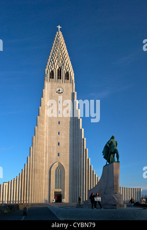 Cathedral and Statue of Leif Eriksson at sunset, Reykjavik, Iceland - Stock Photo
